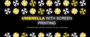 Umbrella with screen printing banner